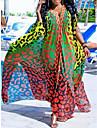 Women\'s Swing Dress Maxi long Dress Yellow Green Sleeveless Color Gradient Color Block Summer V Neck Elegant Loose 2021 S M L XL XXL 3XL / Chiffon