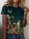 Dámské Květinový motiv Motýl Obraz Tričko Květinový Grafika Tisk Kulatý Základní Topy Trávová zelená