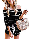 babequeen womens summer sexy off shoulder top casual stripe short jumpsuit rompers black, m