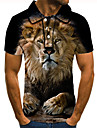 Men\'s Golf Shirt Tennis Shirt 3D Print Graphic Prints Lion Animal Button-Down Short Sleeve Street Tops Casual Fashion Cool Black / Sports