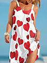 Women\'s Strap Dress Short Mini Dress Sleeveless Flower LOVE Print Spring Summer Halter Neck Casual Loose 2021 S M L XL XXL / Beach