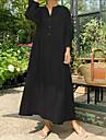 Women\'s A Line Dress Midi Dress Wine Black Beige Long Sleeve Solid Color Patchwork Fall Spring Shirt Collar Casual Loose 2021 S M L XL XXL 3XL 4XL 5XL / Cotton / Cotton