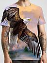 Homens Unisexo Camisetas Camiseta Impressao 3D Estampas Abstratas Aguia Animal Tamanhos Grandes Estampado Manga Curta Casual Blusas Moda Designer Grande e Alto Roxo