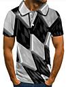 Herr Golftröja Tennisskjorta 3D-tryck Geometrisk Grafiska tryck Button-Down Kortärmad Gata Blast Ledigt Mode Häftig Svart / Sport