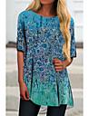 Women\'s T Shirt Dress Tee Dress Short Mini Dress Blue Half Sleeve Floral Print Oil Painting Print Spring Summer Round Neck Casual Holiday 2021 S M L XL XXL 3XL