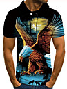 Men\'s Golf Shirt Tennis Shirt 3D Print Graphic Prints Eagle Animal Button-Down Short Sleeve Street Tops Casual Fashion Cool Black / Sports