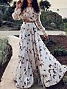 여성용 스윙 드레스 맥시 드레스 화이트 긴 소매 프린트 프린트 가을 봄 라운드 넥 섹시 보호 홀리데이 랜턴 슬리브 루즈핏 2021 S M L XL XXL