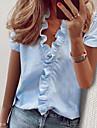 여성용 작동 블라우스 셔츠 솔리드 주름장식 V 넥 탑스 퍼프 화이트+블랙 화이트 + 옐로우 푸른