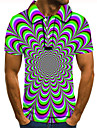 Men\'s Polo 3D Print Optical Illusion Geometry Button-Down Short Sleeve Street Tops Casual Fashion Cool Green