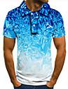 Herr Golftröja Tennisskjorta 3D-tryck Grafiska tryck Snöflinga Button-Down Kortärmad Gata Blast Ledigt Mode Häftig Blå / Sport