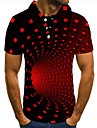Men\'s Polo 3D Print 3D Graphic Prints Button-Down Short Sleeve Street Tops Casual Fashion Cool Red / Sports