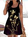 Women\'s A Line Dress Short Mini Dress Gold Sleeveless Color Block Animal Print Spring Summer Boat Neck Casual Holiday 2021 S M L XL XXL 3XL
