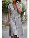 2021 amazon independent station ebay new summer print short-sleeved round neck dress polka dot female skirt mid-length skirt