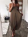 Women\'s Strap Dress Maxi long Dress pea green Blue White Black Brown Sleeveless Solid Color Summer Casual 2021 S M L XL 2XL 3XL