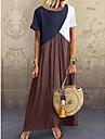 Women\'s Swing Dress Maxi long Dress Purple Green Brown Gray Short Sleeve Color Block Spring Casual 2021 S M L XL XXL 3XL 4XL 5XL
