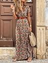 Women\'s Swing Dress Maxi long Dress Red Brown Short Sleeve Floral Color Block Split Ruffle Print Spring Summer V Neck Elegant Vintage Boho 2021 S M L XL XXL 3XL