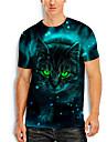 Hombre Tee Camiseta Camisa Impresion 3D Gato Estampados Animal Estampado Manga Corta Diario Tops Casual De Diseno Grande y alto Escote Redondo Azul Piscina / Verano