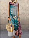 Women\'s Shift Dress Maxi long Dress Blue Purple Sleeveless Print Color Gradient Print Spring Summer Round Neck Casual Holiday 2021 S M L XL XXL 3XL