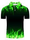 Pánské Golfová košile Tenisové tričko 3D tisk Grafické tisky Stuha Tlačítko dolů Krátký rukáv ulice Topy Na běžné nošení Módní Chladný Trávová zelená / Sport