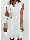 Women\'s A Line Dress Knee Length Dress White Sleeveless Solid Color Fall Summer V Neck Elegant Casual 2021 S M L XL XXL 3XL / Cotton / Cotton
