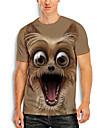 Herren Tee T-Shirt Hemd 3D-Druck Grafik-Drucke Tier Druck Kurzarm Alltag Oberteile Freizeit Designer Gross und hoch Rundhalsausschnitt Braun / Sommer
