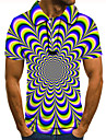 Men\'s Polo 3D Print Optical Illusion Geometry Button-Down Short Sleeve Street Tops Casual Fashion Cool Blue / Sports