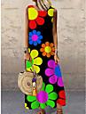 Women\'s Shift Dress Maxi long Dress Rainbow Black Sleeveless Floral Print Print Spring Summer Round Neck Casual Holiday 2021 S M L XL XXL 3XL