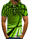 Men\'s Polo 3D Print Optical Illusion Geometry Button-Down Short Sleeve Street Tops Casual Fashion Cool Green / Sports