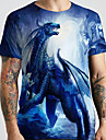 Hombre Unisexo Tee Camiseta Camisa Impresion 3D Dragon Estampados Animal Tallas Grandes Estampado Manga Corta Casual Tops Basico De Diseno Grande y alto Escote Redondo Azul Piscina / Verano