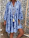 여성용 A 라인 드레스 미니 드레스 블러슁 핑크 클로버 오렌지 밝은 블루 반 소매 플로럴 여름 스탠드 뜨거운 꽃 홀리데이 루즈핏 2021 S M L XL XXL 3XL 4XL