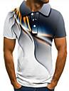Men\'s Golf Shirt Tennis Shirt 3D Print 3D Graphic Prints Linear Button-Down Short Sleeve Street Tops Casual Fashion Cool Gray / Sports