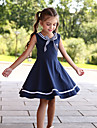 Kids Little Girls\' Dress Striped Solid Color Skater Dress School Causal Bow Navy Blue Knee-length Cute Dresses Children\'s Day Summer Regular Fit 3-13 Years