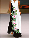 foreign trade 2021 spring and summer new style v-neck long skirt digital printing sexy dress european and american 3d big swing skirt wholesale