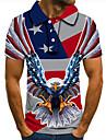 Men\'s Golf Shirt Tennis Shirt 3D Print Graphic Prints Eagle American Flag Button-Down Short Sleeve Street Tops Casual Fashion Cool Red / Sports