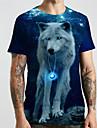 Hombre Unisexo Tee Camiseta Impresion 3D Estampados Lobo Animal Tallas Grandes Estampado Manga Corta Casual Tops Basico De Diseno Grande y alto Negro