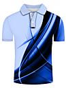 Homens Camisa de golfe Camisa de tenis Impressao 3D Estampas Abstratas Linear Botao para baixo Manga Curta Rua Blusas Casual Moda Legal Cinzento / Esportes