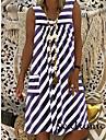 2021 new amazon wish european and american cross-border ladies plus size pocket summer round neck sleeveless striped dress