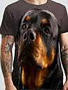 Herren Unisex Tee T-Shirt 3D-Druck Hund Grafik-Drucke Tier UEbergroessen Druck Kurzarm Normal Oberteile Grundlegend Designer Gross und hoch Schwarz