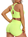 Women\'s 2pcs Yoga Suit Tiktok Summer Cross Back Wirefree Solid Color Black Purple Yellow Spandex Yoga Fitness Gym Workout Shorts Sports Bra  Suit Sleeveless Sport Activewear Tummy Control Butt Lift