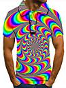 Pánské Golfová košile Tenisové tričko 3D tisk Duhová 3D tisk Grafické tisky Tlačítko dolů Krátký rukáv ulice Topy Na běžné nošení Módní Chladný Duhová / Sport