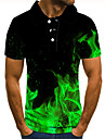 Homens Camisa de golfe Camisa de tenis Impressao 3D Estampas Abstratas Labareda Botao para baixo Manga Curta Rua Blusas Casual Moda Legal Verde / Esportes