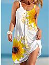 Women\'s Strap Dress Short Mini Dress Sleeveless Sunflower Print Summer Casual 2021 S M L XL XXL