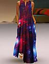 Women\'s Swing Dress Maxi long Dress Blue Black Red Sleeveless Print Print Summer V Neck Casual Loose 2021 S M L XL XXL 3XL 4XL 5XL
