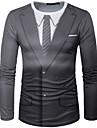 Men\'s T shirt Shirt Graphic Simulation Print Long Sleeve Daily Tops Streetwear Round Neck Black / White White / Black Black / Sports