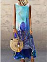 Women\'s Shift Dress Maxi long Dress Blue Sleeveless Floral Print Print Spring Summer Round Neck Casual Holiday 2021 S M L XL XXL 3XL