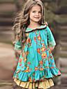 Barn Litt Jente Kjole Blomstret Groenn Knelang Halvlange ermer soet stil Kjoler Normal