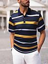 رجالي قميص الجولف قميص تنس مخطط قمصان الجولف قمم قبعة القميص أصفر أخضر