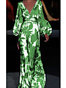 Women\'s Sheath Dress Maxi long Dress Green Long Sleeve Print Print Spring Summer V Neck Casual Puff Sleeve 2021 S M L XL