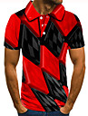 Herren Golfhemd Tennishemd 3D-Druck Gitter Grafik-Drucke Button-Down Kurzarm Strasse Oberteile Freizeit Modisch Cool Rote / Sport