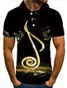 Herr Golftröja Tennisskjorta 3D-tryck symbol Grafiska tryck Button-Down Kortärmad Gata Blast Ledigt Mode Häftig Svart / Sport